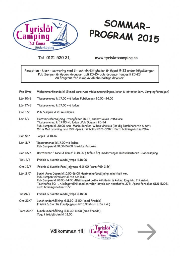 Sommarprogram 2015 Tyrislöt Camping 1
