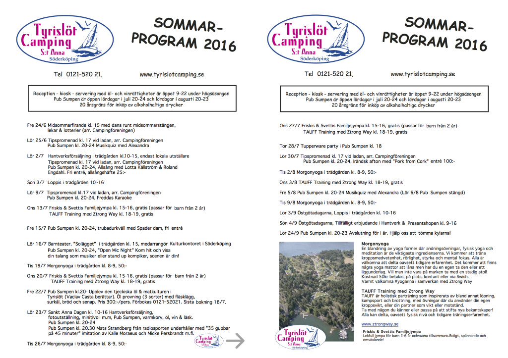 Tyrislöt Sommarprogram 2016